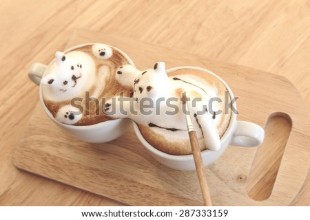Making of kitty lover 3d latte Art - stock photo