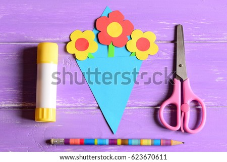 Making Paper Crafts For Mothers Day Or Birthday Step Flowers Bouquet Scissors