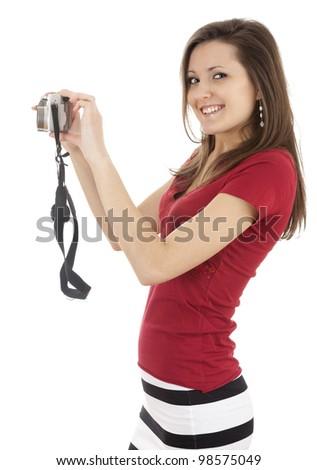 making photo beautiful girl with camera - stock photo