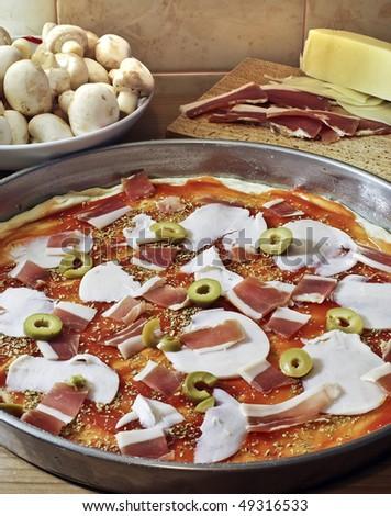 making pizza - stock photo