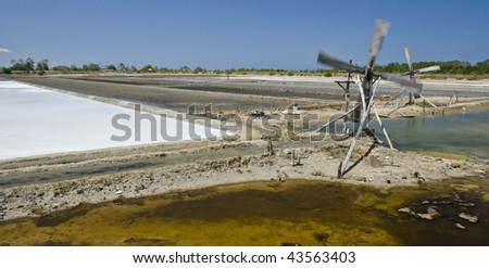 Making sea salt in a large scale in Indonesia - stock photo