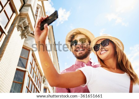 Making selfie - stock photo