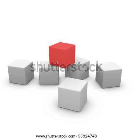 making the next step, red block on top - stock photo