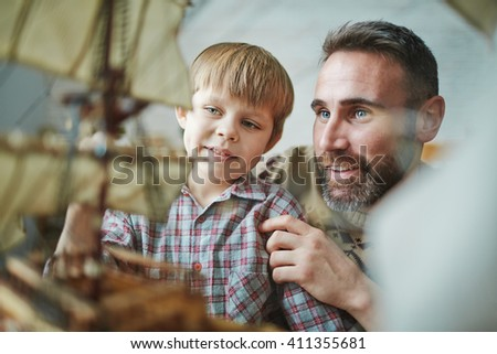 Making toy ship - stock photo