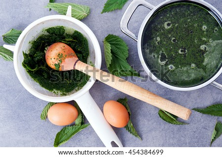 making vegetarian, healthy nettle soup