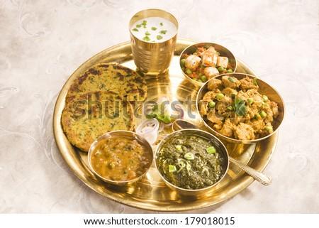 Makki Ki Roti with Paneer, Saag and Buttermilk, Indian Food - stock photo