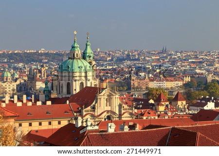 Mala Strana quarter with distinctive building of St Nicholas Church (Cathedral), Prague, Czech Republic - stock photo