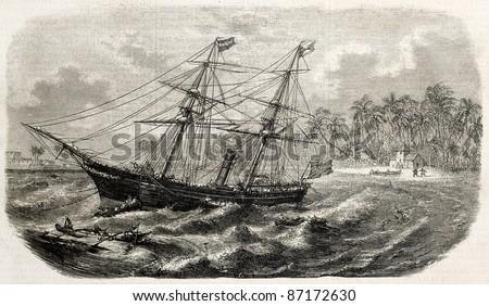 Malabar wreck on Ceylon coast. Created by Lebreton, published on L'Illustration, Journal Universel, Paris, 1860 - stock photo