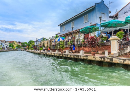MALACCA, MALAYSIA - DECEMBER 23: Landscape of Malacca city along Melaka river on Dec 23, 2013 in Malacca, Malaysia. Malacca has been listed as a UNESCO World Heritage Site since 7 July 2008.