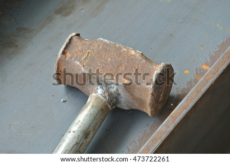 MALACCA, MALAYSIA -JULY 12, 2016: Metal Hammer used at the welding workshop.