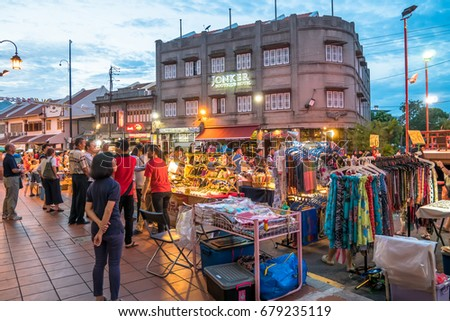 Malacca,Malaysia - July 15,2017 : The night market on Friday,Saturday and Sunday is the best part of the Jonker Street, it sells everything from tasty foods to cheap keepsakes