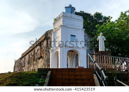 MALACCA, MALAYSIA - MAY 1 2016 : St Paul's Church in Malacca Malaysia. St. Paul's Church is a church that was built in 1521, the oldest church building in Malaysia and Southeast Asia. - stock photo