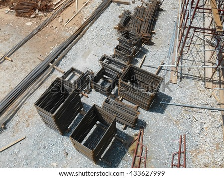 MALACCA, MALAYSIA -NOVEMBER 05, 2015: Stack of steel reinforcement bar placed at the open space in construction site.