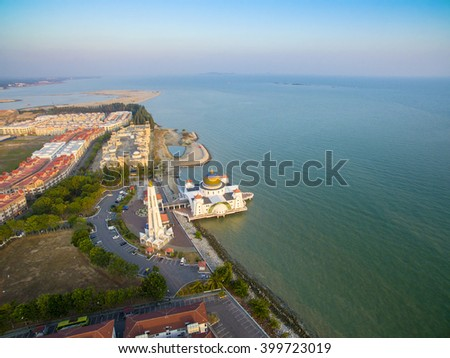 Malacca Strait shoreline development from arial view - stock photo