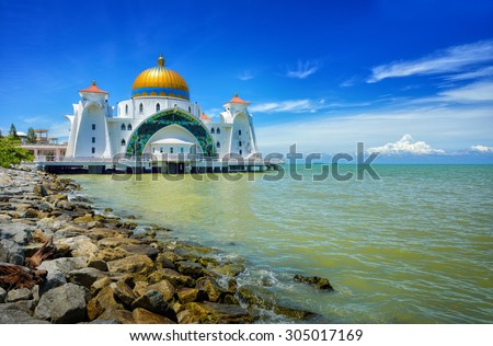 Malacca Straits Mosque ( Masjid Selat Melaka), It is a mosque located on the man-made Malacca Island near Malacca Town, Malaysia. Construction cost of the mosque is about MYR10 million.