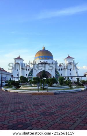 Malacca Straits Mosque (Masjid Selat Melaka), Malacca, Malaysia - stock photo