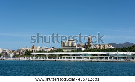MALAGA, ANDALUCIA/SPAIN - MAY 25 : View of the Malaga Skyline in Spain on May 25, 2016 - stock photo