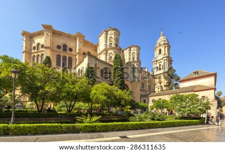 Malaga Cathedral in Andalusia, Spain. - stock photo