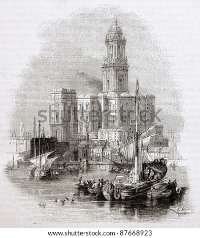 Malaga cathedral old view from the sea. Created by Andrew, Best and Leloir, published on Magasin Pittoresque, Paris, 1844