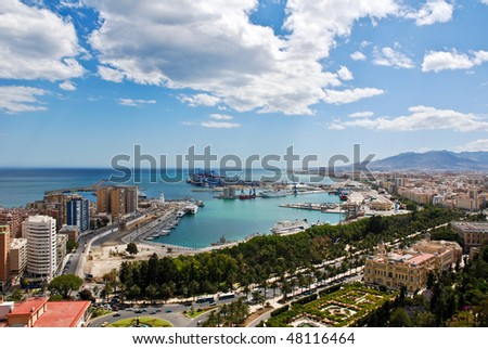 Malaga Cityscape - Day - stock photo