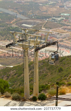 MALAGA, SPAIN - AUGUST 10, 2012: Benalmadena cableway view from Calamorro mountain. The cableway reach the summit of the Calamorro Mountain, the highest spot in Benalmadena.