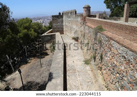 MALAGA, SPAIN- AUGUST 23, 2014: Gibralfaro Castle in Malaga, Andalusia, Spain. The place is declared UNESCO World Heritage Site
