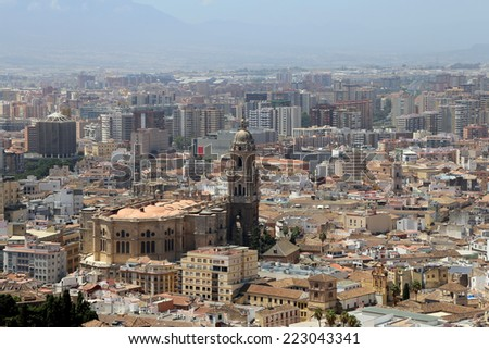 MALAGA, SPAIN- AUGUST 23, 2014: Malaga in Andalusia, Spain. Aerial view of the city