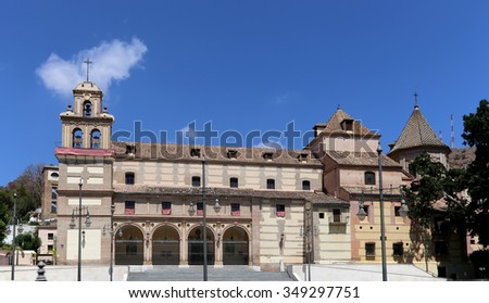 MALAGA, SPAIN- AUGUST 23, 2014: Old architecture in Malaga, Andalusia, Spain   - stock photo