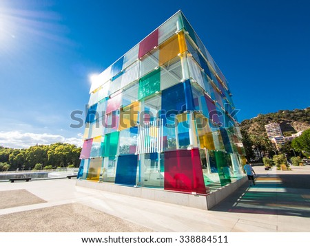MALAGA, SPAIN - AUGUST 16: Pompidou Centre on August 16, 2015 in Malaga, Spain. It is the second most populous city of Andalusia and the sixth largest in Spain. - stock photo