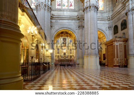 MALAGA, SPAIN- AUGUST 23, 2014: The interior Cathedral of Malaga--is a Renaissance church in the city of Malaga, Andalusia, southern Spain.