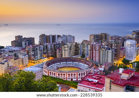 Malaga, Spain cityscape at dawn. - stock photo
