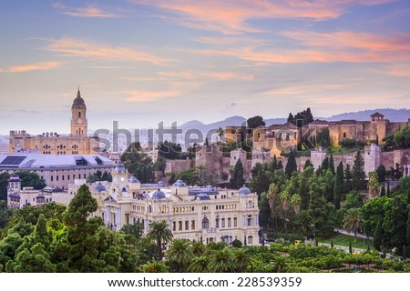 Malaga, Spain cityscape at the Cathedral, City Hall and Alcazaba citadel of Malaga. - stock photo