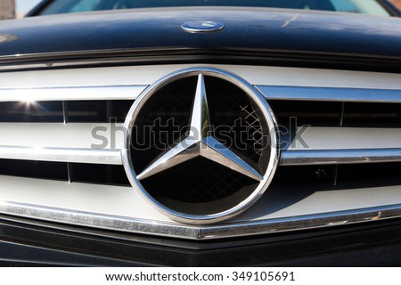 MALAGA, SPAIN - DECEMBER 2, 2015: Mercedes Benz car logo in the front grid. s a German automobile manufacturer, a multinational division of the German manufacturer Daimler AG. - stock photo