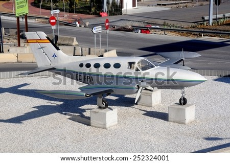 MALAGA, SPAIN - JANUARY 29, 2012 - Cessna 421B Golden Eagle Registration number EC-FPA (once belonged to Marbella Air Taxi) at Malaga Airport, Malaga, Andalusia, Spain, Europe, January 29, 2012. - stock photo