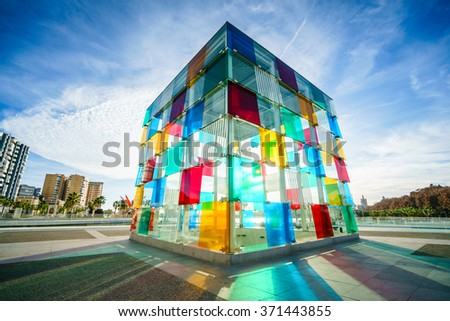 MALAGA, SPAIN - JANUARY 23: Pompidou centre on January 23, 2016 in Malaga, Spain. It is the second most populous city of Andalusia and the sixth largest in Spain.  - stock photo