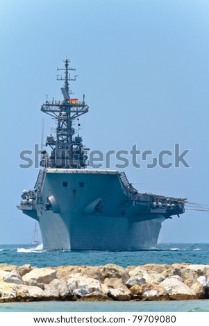 MALAGA, SPAIN-MAY 28: Aircraft carrier Principe de Asturias taking part in an exhibition on the day of the spanish army forces on May 28, 2011, in Malaga, Spain