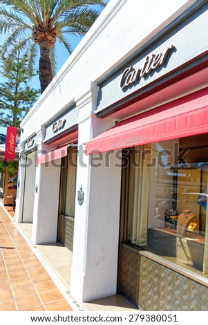 MALAGA, SPAIN - MAY 9:  Cartier shop pictured on May 9th, 2015 in Malaga, Spain.  Cartier is a designer widely known for its classic designs. - stock photo