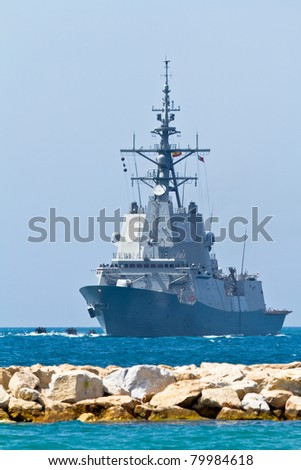 MALAGA, SPAIN-MAY 28: Frigate F-101 Alvaro de Bazan taking part in an exhibition on the day of the spanish army forces on May 28, 2011, in Malaga, Spain