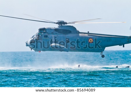 MALAGA, SPAIN-MAY 28: Helicopter Westland SH-3D/W Seaking of the Spanish Navy takes part in an exhibition on the day of the spanish army forces on May 28, 2011, in Malaga, Spain