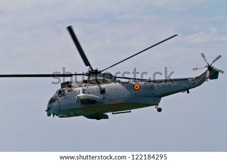 MALAGA, SPAIN-MAY 28: Helicopter Westland SH-3D/W Seaking of the Spanish Navy taking part in an exhibition on the day of the spanish army forces on May 28, 2011, in Malaga, Spain