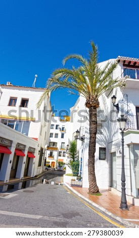 MALAGA, SPAIN - MAY 9: Street of Malaga pictured on May 9th, 2015 in Malaga, Spain. It is the second most populous city of Andalusia and the sixth largest in Spain.  - stock photo