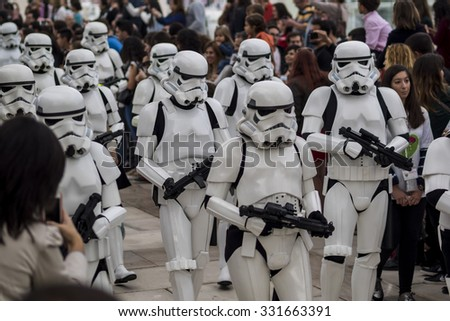 MALAGA, SPAIN - OCTOBER 24: People of 501st Legion, official costuming organization, take part in the Star Wars Parade wearing perfectly accurate costumes on OCTOBER 24, 2015 in MALAGA. - stock photo