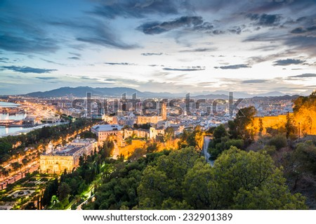 MALAGA, SPAIN - SEPTEMBER 17: Cityscape of Malaga on September 17, 2014 in Malaga, Spain. It is the second most populous city of Andalusia and the sixth largest in Spain.  - stock photo