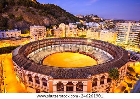 Malaga, Spain skyline over the bullring. - stock photo