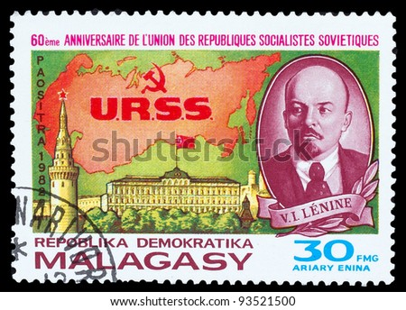 MALAGASY - CIRCA 1982: A post stamp printed in MALAGASY, Red Square, Moscow, leader USSR Vladimir Lenin, circa 1982 - stock photo