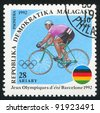 MALAGASY - CIRCA 1992: A stamp printed by Malagasy, shows Cycling, circa 1992 - stock photo