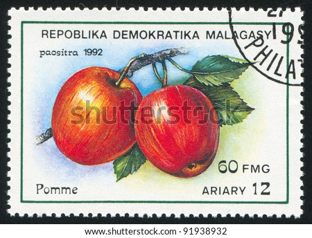 MALAGASY CIRCA 1992: stamp printed by Malagasy, shows Apples, circa 1992 - stock photo