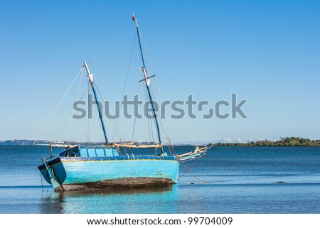 Malagasy dhow at low tide of Analalava, western Madagascar