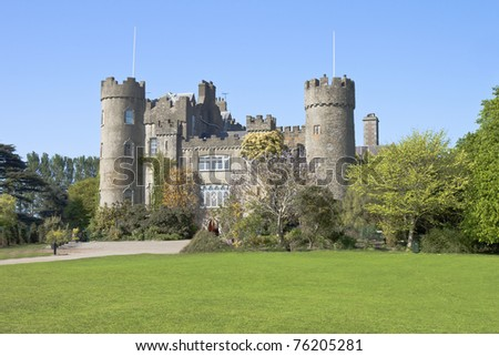 Malahide Castle and park in Dublin, Ireland. - stock photo