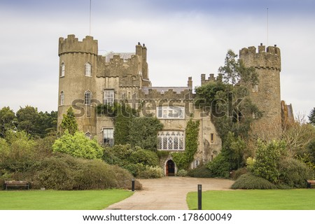 Malahide castle seen from the front. Built in 1185.  - stock photo